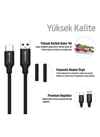 marstec USB to Type-C Kablo Tüm Type-C Çıkışlı Cihazlara Uyumludur Hızlı Şarj ve Data  1 Metre Örgülü Kablo Siyah